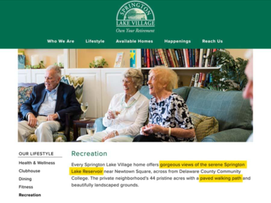Springton Lake Village Recreation Page Screen Capture