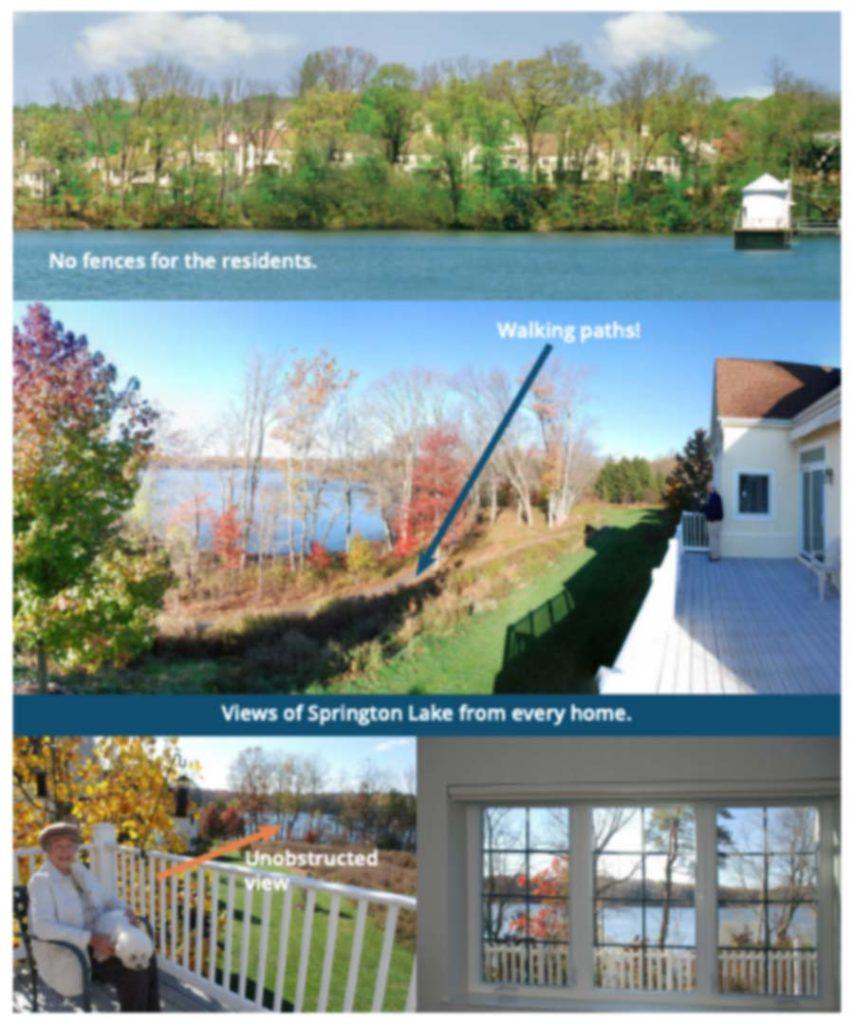 Photo collage of Springton Lake Reservoir as it appears for residents of Springton Lake Village